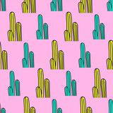Seamless pattern. Minimal cactus background. Use for t-shirt, greeting cards, wrapping paper, posters, fabric print. Fashion Sketch art - 205931770