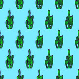 Seamless pattern. Cactus background. Use for t-shirt, greeting cards, wrapping paper, posters, fabric print. Fashion Minimal Illustration - 205932105