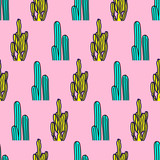 Seamless pattern. Cactus Mix background. Use for t-shirt, greeting cards, wrapping paper, posters, fabric print. Fashion Minimal Illustration - 205932117