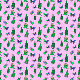 Seamless pattern art.   Summer background. Use for t-shirt, greeting cards, wrapping paper, posters, fabric print. Fashion designer minimal Sketch - 205932134