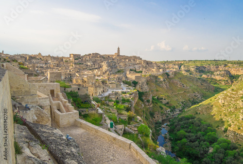 """Matera (Basilicata) - The historic center of the wonderful stone city of southern Italy, a tourist attraction for the famous """"Sassi"""" old town."""