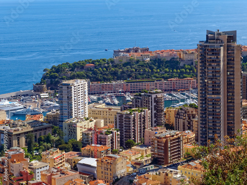 Overlook of Monte Carlo in the Principality of Monaco on the Mediterranean Sea near Nice, France