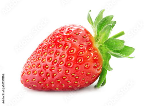 Foto Murales close-up view of single ripe strawberry isolated on white background