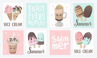 Summer vector cartoon set of cards with funny ice cream character illustration with emotion