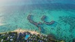 Aerial view of tropical paradise of Moorea, turquoise crystal clear water of scenic blue lagoon, typical over water bungalows - South Pacific Ocean, French Polynesia landscape from above, 4k