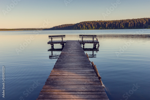 Fototapety, obrazy : Wooden footbridge on the lake