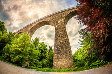 Old railway arch bridge in Germany