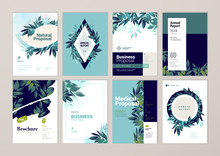 Brochure And Annual Report Cover Design Templates On The Subject Of Nature Environment And Organic Products  Illustrations For Flyer Layout Marketing Material Magazines Presentations Sticker