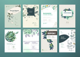 Set of brochure and annual report cover design templates on the subject of nature, environment and organic products. Vector illustrations for flyer layout, marketing material, magazines, presentations - 205961164