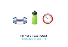 Real Cute Fitness Elements      Illustration  Sticker