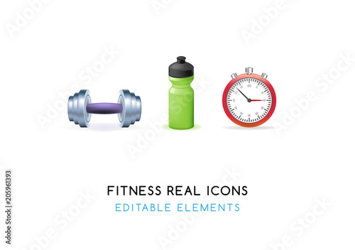 Set of Real Cute Fitness Elements on White Background . Isolated Vector Illustration