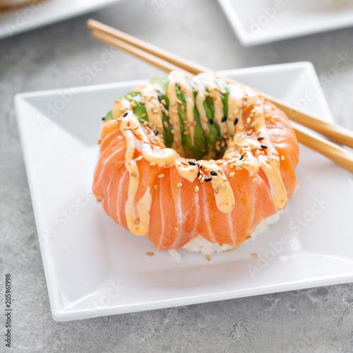 Fotobehang Sushi bar Sushi donuts with tuna and salmon