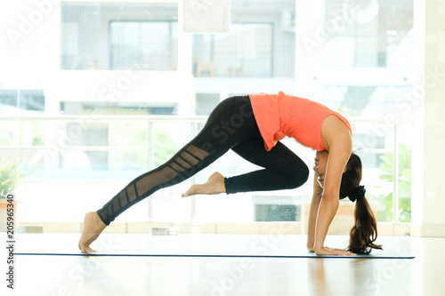 Young asian woman practicing yoga meditation, healthy lifestyle, wellness, well being