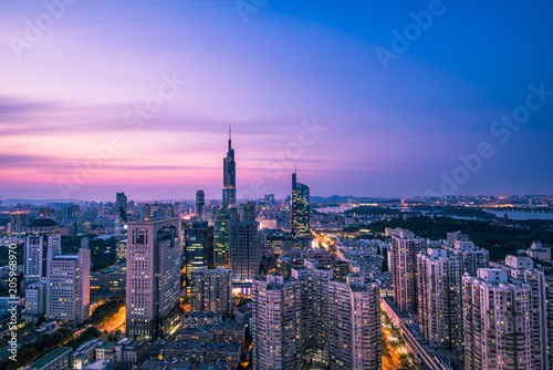 Aerial View of Nanjing City at Sunset in Summer