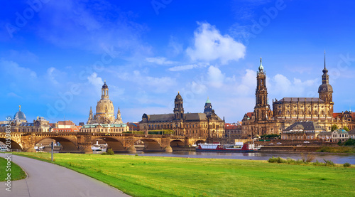 Leinwanddruck Bild Dresden skyline and Elbe river in Saxony Germany