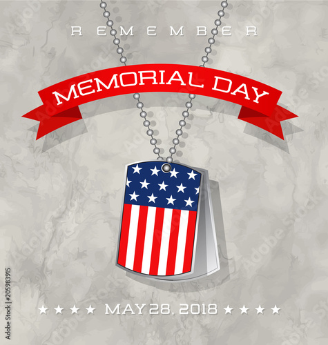 Memorial Day card or banner design with soldier's dog tags with flag on marble texture