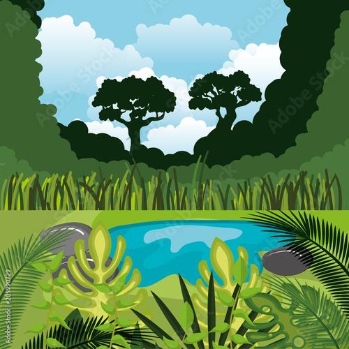 Plexiglas Pistache rainforest jungle natural scene vector illustration design