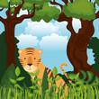 wild in the jungle scene vector illustration design