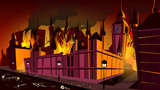 London in fire of plague epidemic vector illustration. London city burning at plague disease with dead people skeletons on night streets at cartoon Big Ben or Parliament House for Britain history