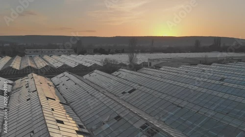 Aerial view on the old large greenhouse.