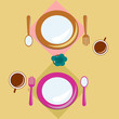 Top view colorful dish and spoon on background .Illustration vector.