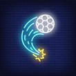 Flying soccer ball on brick background. Neon style illustration