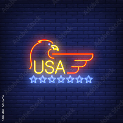 USA and eagle symbol with stars on brick background. Neon style