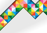 White Background with Colorful Squares and Shadows in Geometric Abstract Illustration - Template for Visit Card, Brochure, Propagation and More, Vector - 206001564