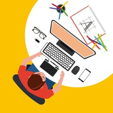 Man Designer Is Working  Computer Graphic Tablet Working Process  Illustration Sticker