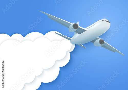 Fototapeta Plane in the clouds. Aircraft and paper clouds. Vector.
