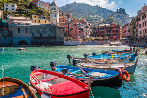 The boats in Vernazza town