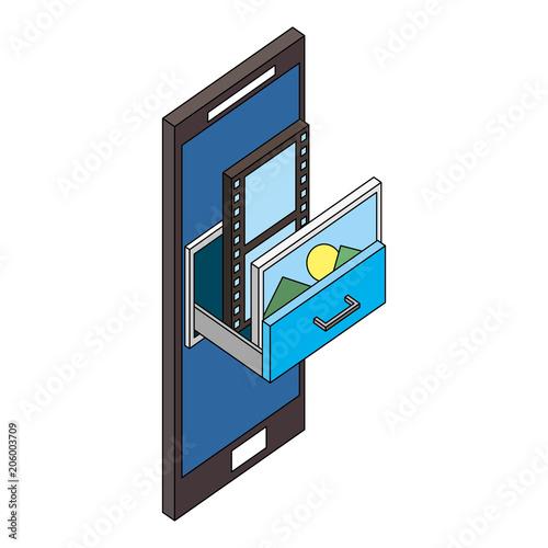 smartphone storage movie and photo isometric vector illustration