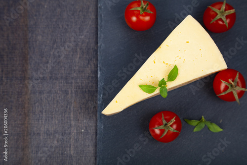 Wall mural Cheese, cherry tomatoes and basil