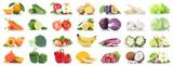 Obst und Gemüse Früchte viele Apfel Tomaten Orangen Salat Zitrone Farben Freisteller freigestellt isoliert