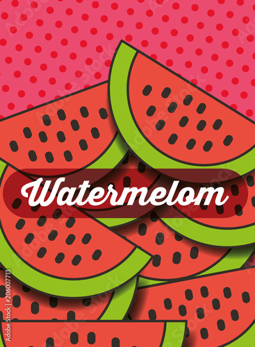 fruit watermelon on the dotted background vector illustration - 206007713