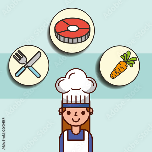Wall mural girl chef cartoon and fish carrot fork knife vector illustration