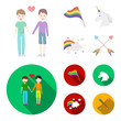 Flag, unicorn symbol, arrows with heart.Gay set collection icons in cartoon,flat style vector symbol stock illustration web.