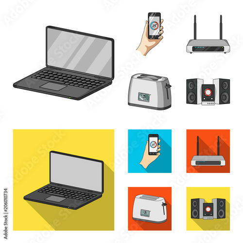 Home appliances and equipment cartoon,flat icons in set collection for design.Modern household appliances vector symbol stock web illustration.
