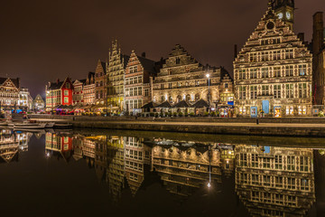 Nice view Ghent at night in Belgium © pcalapre