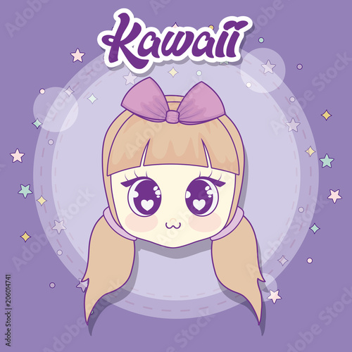 kawaii anime girl head over purple background, colorful design. vector illustration - 206014741