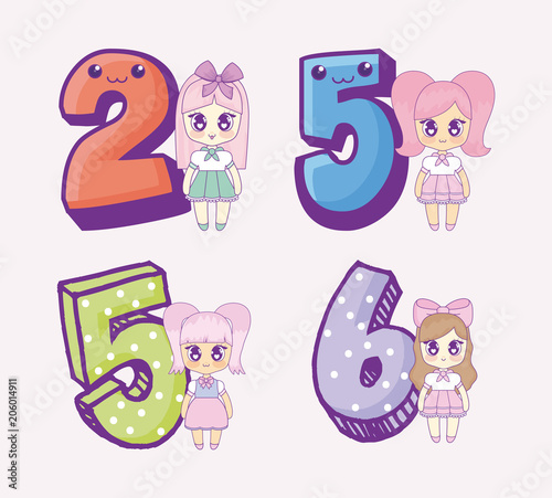 Icon set of kawaii anime girls and numbers over pink background, colorful design. vector illustration - 206014911
