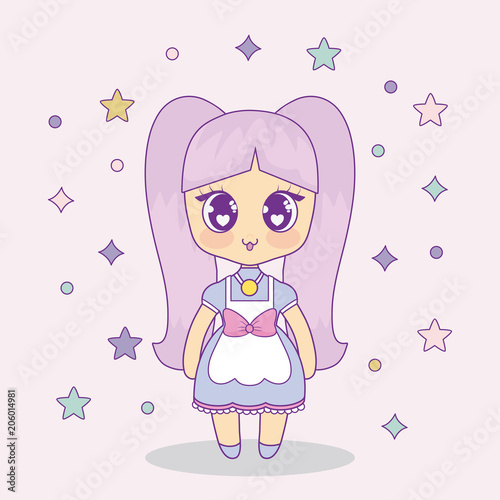 kawaii anime girl with decorative stars around over pink background, colorful design. vector illustration - 206014981