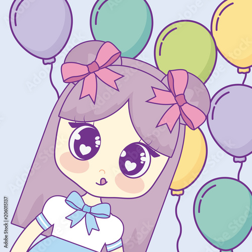 Kawaii anime girl over colorful balloons and blue background, vector illustration - 206015137
