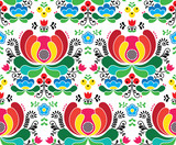 Seamless Norwegian vector folk art pattern - Rosemaling style embroidery background - 206019974