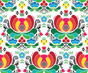 Seamless Norwegian vector folk art pattern - Rosemaling style embroidery background