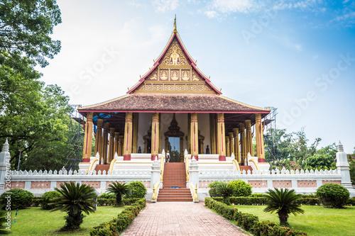 Aluminium Boeddha Wat Phra Kaew in Vientiane Laos