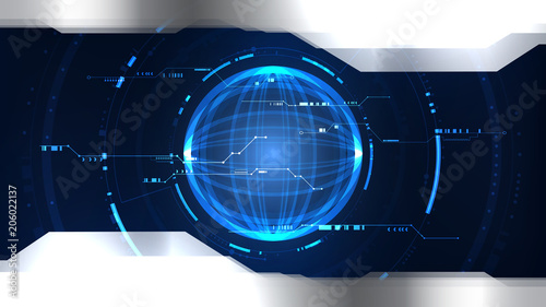 Technological future system cyberspace global interface background vector