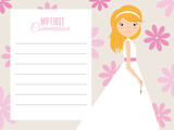 my first communion girl. Girl with beautiful dress and floral background. space for text