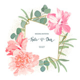 Floral set with peony, hibiscus and eucalyptus. Wedding Invitation, save the date, rsvp, invite card. Vector illustration. Celebration template. Watercolor style - 206024172