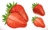 Strawberry. Fresh fruit. 3d realistic vector icon - 206027936